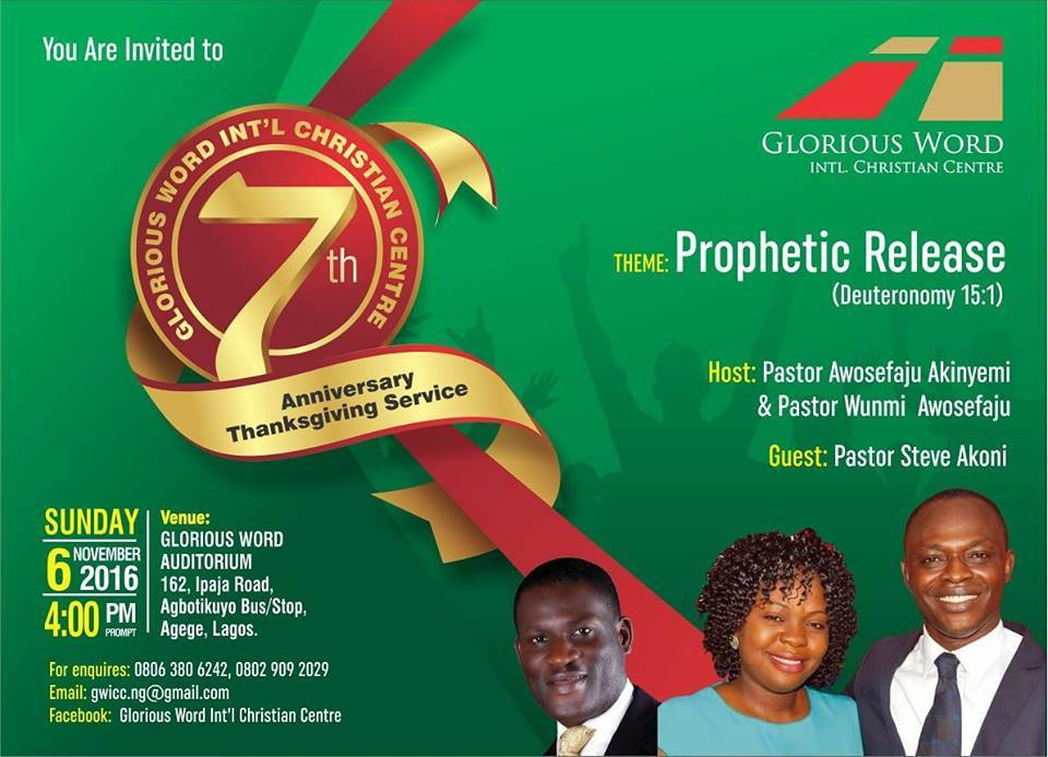 Glorious Word international christian centre 7th anniversary